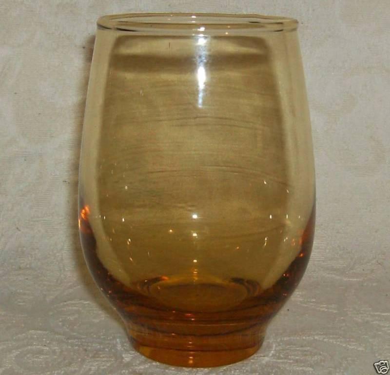 "Libbey TEMPO (2) Beverage Glass Tumblers;HONEY GOLD;4½x 2½""; 12 oz"