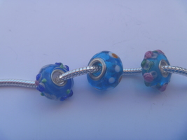 3 charms lampwork murano glass pandora style 925 silver FREE POSTAGE WORLD - $9.90