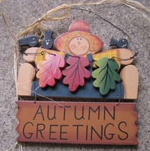 Wood Fall Sign 441 - Autumn Greetings  - $4.95
