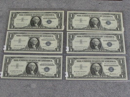 (6) ASSORTED 1957 $1 SILVER CERTIFICATES - GEM SPECIMANS- W/FREE SHIP - $68.00