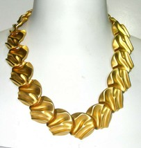 UNSIGNED TEXTURED VINTAGE GOLD TONE SCULPTED LARGE MODERN NECKLACE - $225.00