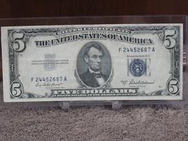 1953-A $5 SILVER CERTIFICATE- DECENT SPECIMAN-FREE SHIP - $24.00