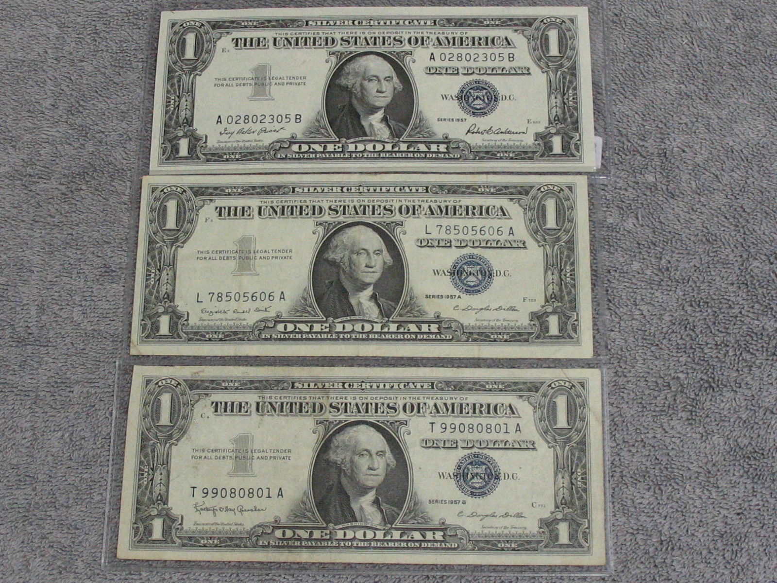 3 Assorted 1957 1 Silver Certificates And 13 Similar Items
