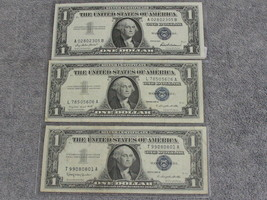 (3) ASSORTED 1957 $1 SILVER CERTIFICATES -DECENT SPECIMANS- W/FREE SHIP - $32.95
