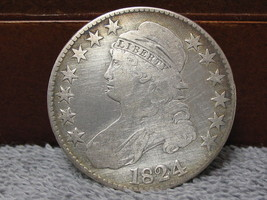 1824 BUST HEAD HALF DOLLAR-FAIR CONDITION-FREE SHIP - $104.00