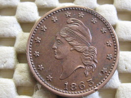 1863 CIVIL WAR TOKEN ARMY NAVY-REPUNCHED DATE VERY NICE HIGH GRAD-FREE SHIP - $110.00