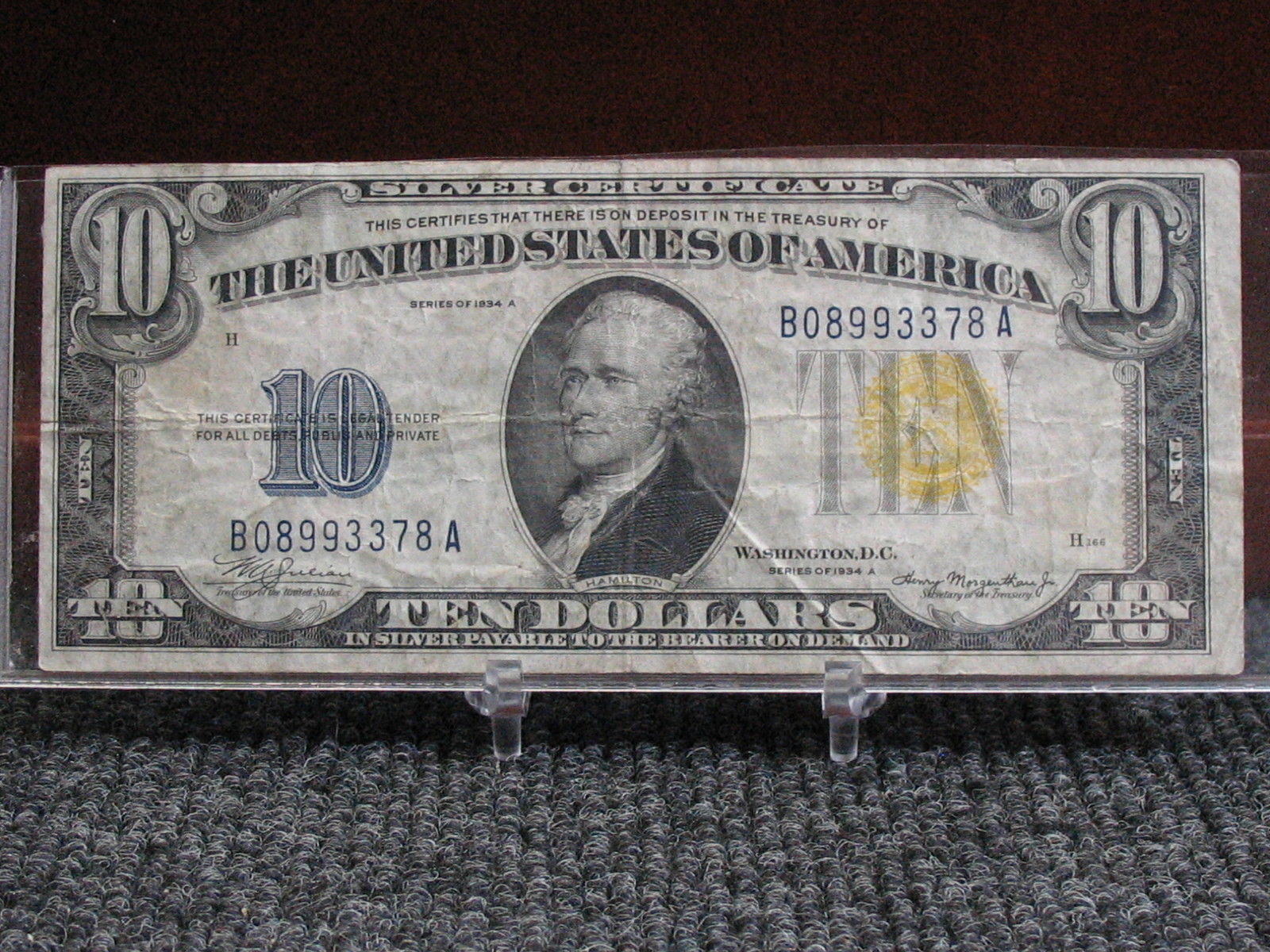 1934 A 10 Yellow Seal Silver Certificate And 13 Similar Items
