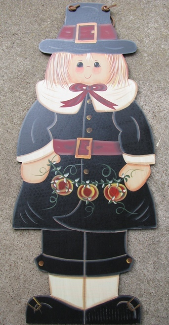 Wood Sign FWF8304-Pilgrim Girl with Pumpkins