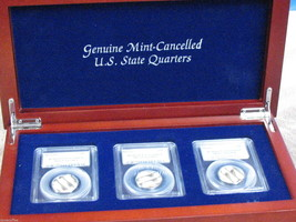 MINT CANCELLED STATE QUARTERS- PCGS CERT IN CHERRY DISPLAY CASE  !!-FREE... - $95.00