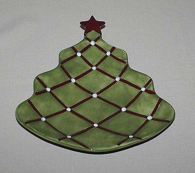 Primary image for Pottery Barn Seasons Greetings Plate Figural Christmas Tree Red Star