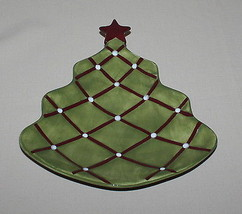 Pottery Barn Seasons Greetings Plate Figural Christmas Tree Red Star - $16.34