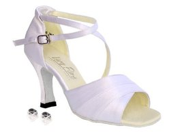 "Very Fine Ladies Women Ballroom Dance Shoes EK1659 White Satin 2.5"" Heel... - $64.95"