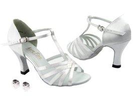Very Fine Ladies Women Ballroom Dance Shoes EK16612 White Satin & White ... - $64.95
