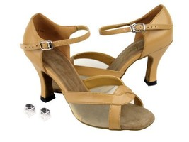 Very Fine Ladies Women Ballroom Dance Shoes EK1675 Beige Brown Leather &... - $64.95
