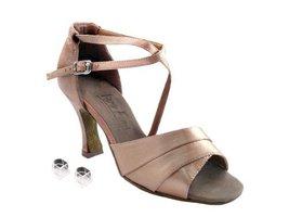 """Very Fine Ladies Women Ballroom Dance Shoes EK1659 Brown Satin 3"""" Heel (6M) - $64.95"""