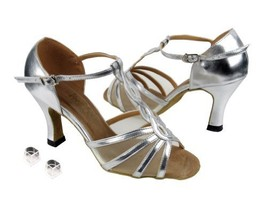 Very Fine Ladies Women Ballroom Dance Shoes EK1692 Silver Leather & Fles... - $64.95