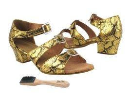 "Very Fine Ladies Women Ballroom Dance Shoes EK1679 Gold Snake 1.5"" Heel (8.5M) - $64.95"