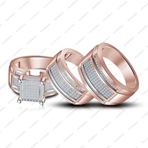 14K Rose Gold Platinum Over 925 Silver Round Cut CZ Anniversary Trio's Ring Set - $135.01