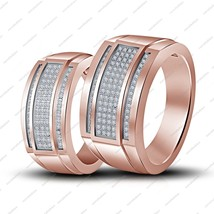 14K Rose Gold Platinum Plated 925 Silver White CZ Engagement +Wedding Band Ring - £60.40 GBP