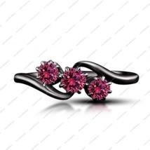 1.25 CT Pink Sapphire Black Rhodium Plated 925 Silver Three Stone Wedding Ring  - £60.40 GBP