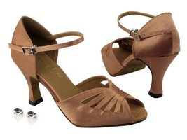 "Very Fine Ladies Women Ballroom Dance Shoes EK2709 Brown Satin 3"" Heel (5M) - $64.95"