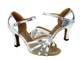 "Ladies Latin Ballroom Classic 6027 Silver Leather & F 2.5"" (7.5M) - $64.95"
