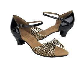 Ladies' Latin Rhythm Salsa Signature S9283 Black & Gold Braid Cuban Heel... - $75.95