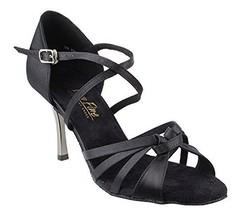 Very Fine Ladies Women Ballroom Dance Shoes EK2791 LED Limited Black Sat... - $65.95