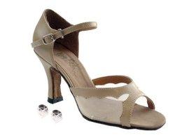 Very Fine Ladies Women Ballroom Dance Shoes EK1616 Tan Leather & Flesh Mesh 2... - $64.95