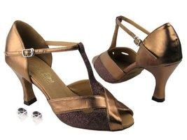 Very Fine Ladies Women Ballroom Dance Shoes EK2703 Copper Stardust & Dark Tan... - $64.95