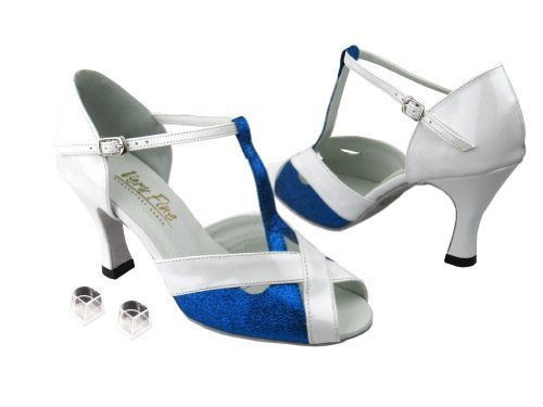 Very Fine Ladies Women Ballroom Dance Shoes EK2703 Blue Stardust & White Pate... image 1