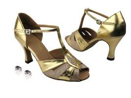 Very Fine Ladies Women Ballroom Dance Shoes EK2702 Gold Stardust & Gold Leath... - $64.95