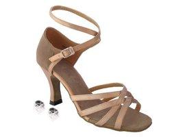 Very Fine Ladies Women Ballroom Dance Shoes EK1606 Brown Satin & Brown Nubuck... - $64.95