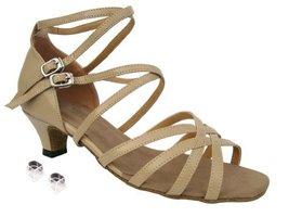 "Very Fine Ladies Women Ballroom Dance Shoes EK5008 Tan Leather 1.3"" Heel (6.5M) - $64.95"