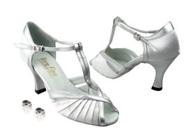Very Fine Ladies Women Ballroom Dance Shoes EK2707 White Satin & Silver ... - $64.95