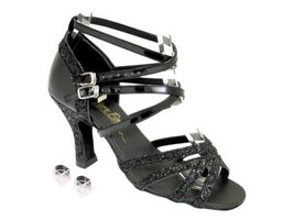Very Fine Ladies Women Ballroom Dance Shoes EK5008Mirage Black Sparkle &... - $64.95