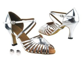 "Very Fine Ladies Women Ballroom Dance Shoes EK2717 Silver Leather 2.5"" H... - $64.95"