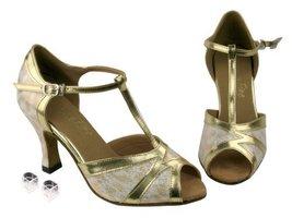 "Very Fine Ladies Women Ballroom Dance Shoes EK2712 Gold & Gold Trim3"" Heel (6M) - $64.95"