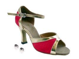 "Very Fine Ladies Women Ballroom Dance Shoes EK6024 Red Satin & Gold Trim 3"" H... - $64.95"