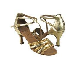 "Ladies' Latin Rhythm Salsa Signature S9278 Gold Leather & Gold Braid 3"" Heel ... - $75.95"