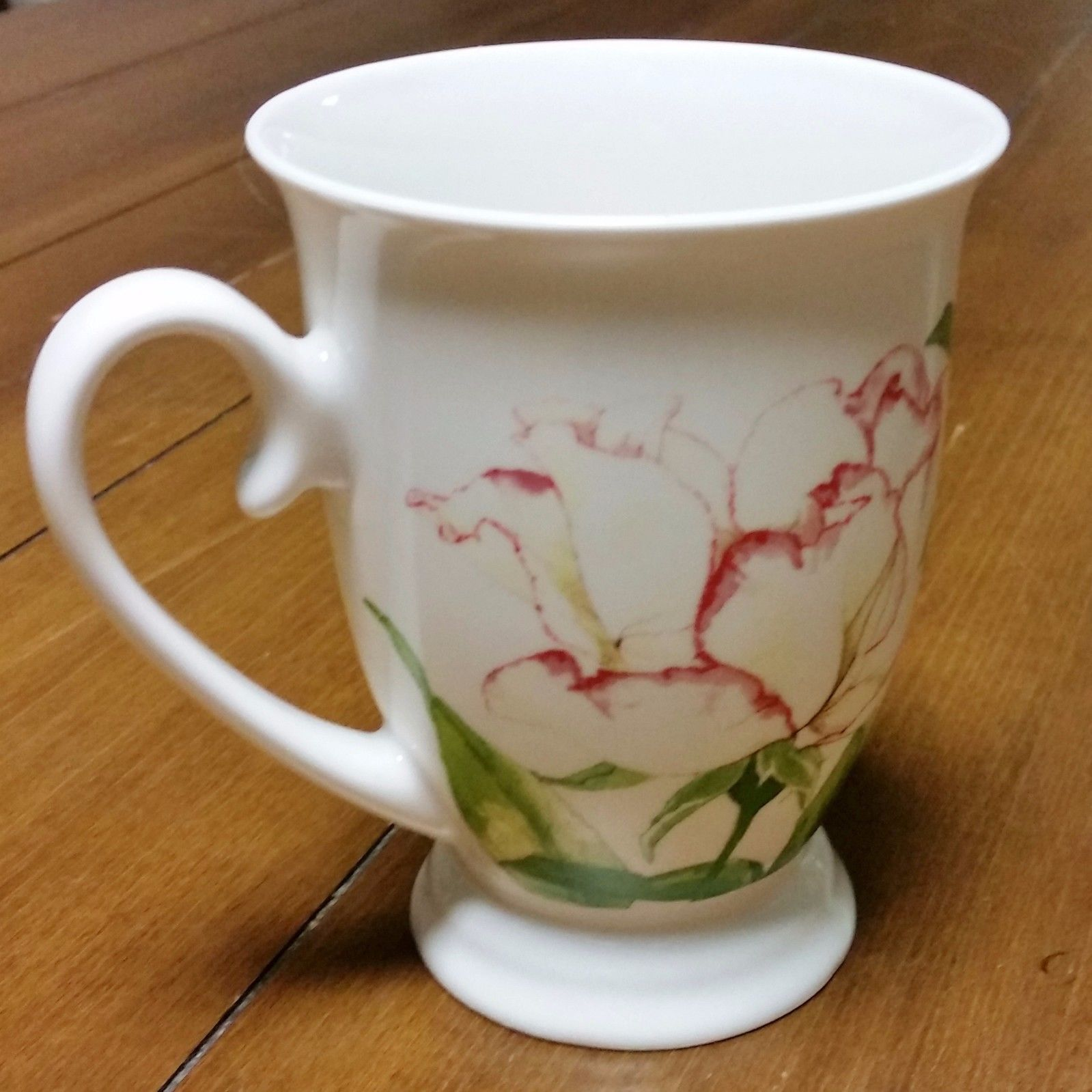 Portmeirion Botanic Garden Footed Tea Coffee Mug Rose Flower Pink White Green Portmeirion