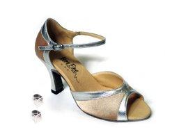 Very Fine Ladies Women Ballroom Dance Shoes EK6024 Light Brown Satin & Silver... - $64.95