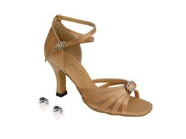 "Very Fine Ladies Women Ballroom Dance Shoes EK6005 Brown Satin & Stone 2.5"" H... - $64.95"
