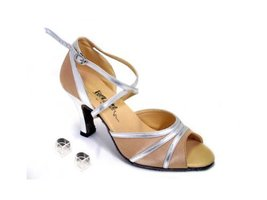Very Fine Ladies Women Ballroom Dance Shoes EK6023 Light Brown Satin & Silver... - $64.95