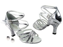 Very Fine Ladies Women Ballroom Dance Shoes EK5008Mirage Silver Sparkle ... - $64.95