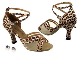 Very Fine Ladies Women Ballroom Dance Shoes EK5017 Leopard & Flesh Mesh ... - $64.95
