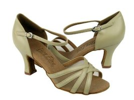 "Ladies' Latin Rhythm Salsa C6027 Beige Leather & FM 3"" Heel (10) - $75.95"