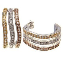 14K TRI-COLOR VERMEIL 3 ROW WAVY CZ HOOP EARRINGS  925 - $79.19