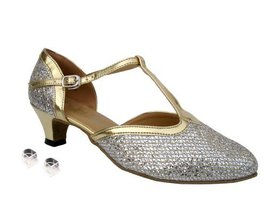 Very Fine Ladies Women Ballroom Dance Shoes EK9627 Gold Sparklenet & Gold Tri... - $64.95