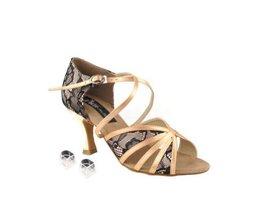Very Fine Ladies Women Ballroom Dance Shoes EKCD3021 Tan Satin & Black Laces ... - $79.95